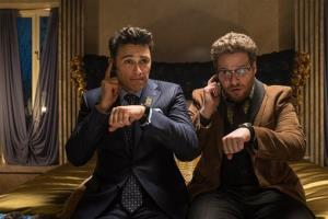 This image released by Columbia Pictures shows James Franco, left, and Seth Rogen in The Interview.