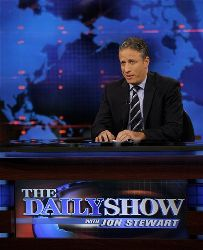 Jon Stewart hosts a taping of Comedy Central's The Daily Show With Jon Stewart, in this Aug. 22, 2007, file photo in New York.