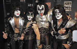Kiss pose with made up faces for the cameras during the press conference to promote the start of their KISS Alive/35 European Tour Thursday, May 8, 2008,  .