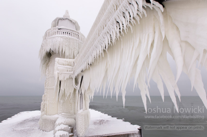 Frozen Michigan lighthouse looks out of this world