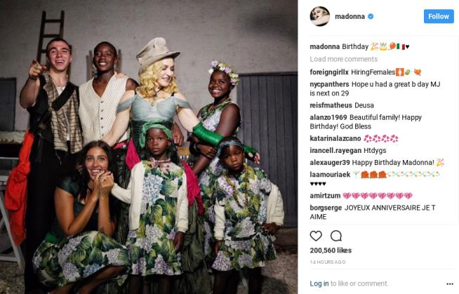 Madonna releases family photo on her birthday