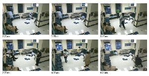 This combination of 6 still photos taken from a video shows the progression of events Thursday, June 19, 2008 in the psychiatric ward of the Kings County Hospital in Brooklyn, N.Y.
