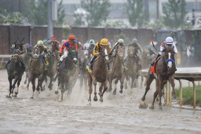 Mike Smith Right Rides Justify Through The Fourth Turn And Unto Victory During The Th Running Of The Kentucky Derby Horse Race At Churchill Downs
