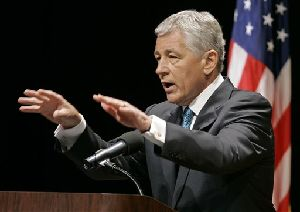 Sen. Chuck Hagel, R-Neb, speaks during a town hall meeting in this 2007 file photo in Lincoln, Neb.