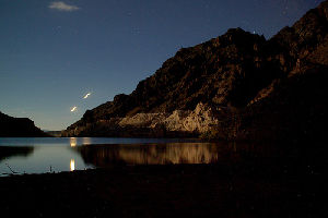 Some people who camp in the Nevada desert at night report seeing strange lights in the sky.
