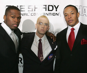From left: Proteges 50 Cent and Eminem with Dr. Dre.