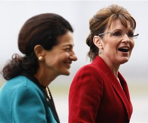 Republican vice presidential nominee, Alaska Gov. Sarah Palin, right, with Sen. Olympia Snowe, R-Maine.