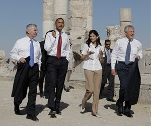 From left, Jack Reed, Barack Obama, conservation architect May Shaer and Chuck Hagel tour the citadel in Amman, Jordan, Tuesday, July 22, 2008.