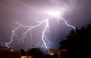 Lightning illuminates the night sky over Roswell N. M. late Monday July 2 2007 as thunderstorms pass through the area. (AP Photo/Roswell Daily Record ... & Lightning Strikes Same Man Twice azcodes.com