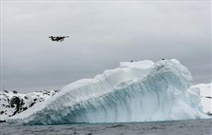 An airplane flies over the Antarctic in this file photo. A plane has been sent to help passengers stranded on the Ushuaia.