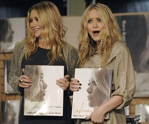 Mary-Kate Olsen, right, and twin sister Ashley react to ...