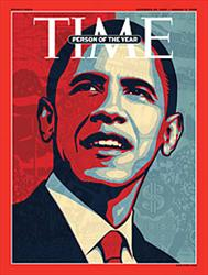The cover of the latest issue of Time, which proclaims Barack Obama the person of the year.