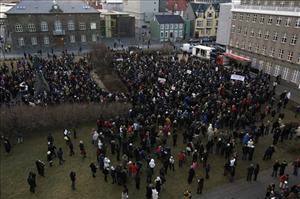 Some of the thousands of Icelanders who protested outside Iceland's parliament, in  Reykjavik, Saturday, Nov. 29, 2008 at the country's economic meltdown.