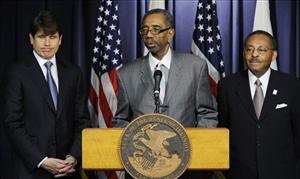 US Rep. Bobby Rush speaks after Illinois Gov. Rod Blagojevich announces his choice of Roland Burris, right, to fill Barack Obama's Senate seat yesterday in Chicago.