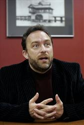 Jimmy Wales, founder of Wikipedia, answers a question during a 2007 interview.