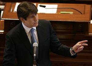 Illinois Gov. Rod Blagojevich delivers his closing argument at his impeachment trial Thursday, Jan. 29, 2009, in Springfield, Ill.