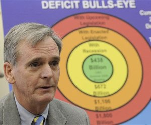 Sen. Judd Gregg, R-NH, ranking Republican on the Senate Budget Committee, talks to reporters about the deficit, Wednesday, Jan. 7, 2009, on Capitol Hill in Washington.