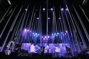 Thom Yorke, center, performs with Radiohead at Lollapalooza in Chicago's Grant Park on Friday, Aug.1, 2008.