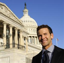 Then Rep.-elect Aaron Schock, R-Ill., stands on Capitol Hill in Washington, Monday, Nov. 17, 2008.