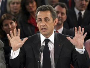 French President Nicolas Sarkozy delivers a speech in France Tuesday.