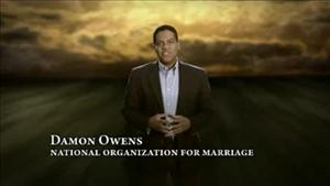 A National Organization for Marriage representative is seen in front of some happy clouds in this YouTube screenshot.