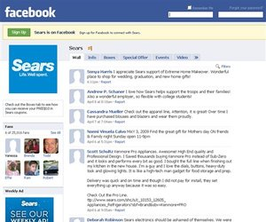 In this screen shot taken from Facebook, the Sears Facebook page is shown.