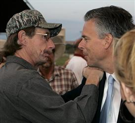 Utah Gov. Jon Huntsman Jr., at a memorial service at for six miners and three rescue workers killed in 2007.