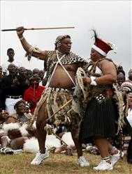 African National Congress  President Jacob Zuma, dances with his Nompumelelo Ntuli during their traditional Zulu wedding ceremony.