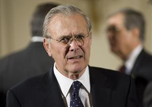 Former Secretary of Defense Donald Rumsfeld attends a ceremony in the East Room of the White House in Washington.