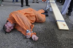A protestor after a live waterboarding demonstration.