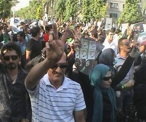 In this frame grab taken from amateur video, supporters of Iranian reformist opposition leader Mir Hossien Mousavi demonstrate in Tehran, Iran, Tuesday June 16, 2009.