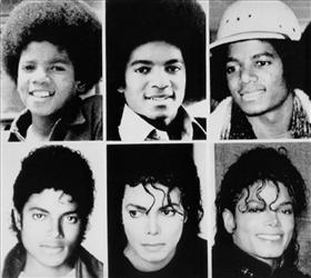 Michael Jackson file pictures from top left, 1971, 1977, 1979, and bottom left, 1983, 1987, and 1990.