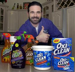 In this Dec. 6, 2002  file photo,TV pitchman Billy Mays poses with some of his cleaning products at his Palm Harbor, Fla., home.