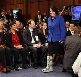 Supreme Court nominee Judge Sonia Sotomayor arrives on Capitol Hill in Washington, Monday, July 13, 2009, to testify before the Senate Judiciary Committee.