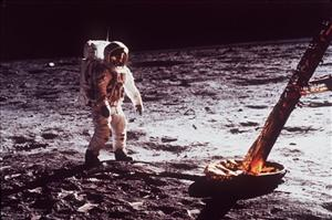 Buzz Aldrin walks by the footpad of the Apollo 11 Lunar Module 40 years ago yesterday.
