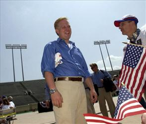 Radio talk show host Glenn Beck arrives for the Rally for America event at Marshall University Stadium May 24, 2003 in Huntington, West Virginia.