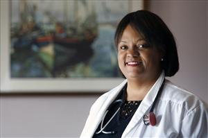 Dr. Regina Benjamin in the waiting room at her temporary clinic in Bayou La Batre, Ala.