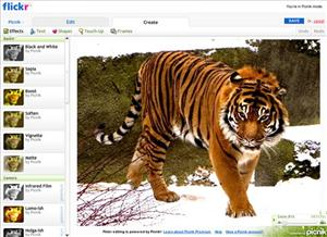 This undated screen grab provided by Yahoo Inc. shows photo editing tools for their popular online photo-sharing service, Flickr.