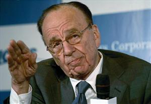 News Corporation chairman Rupert Murdoch addresses a press conference in Mumbai.
