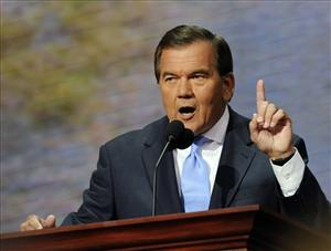 In this Thursday, Sept. 4, 2008, file photo Tom Ridge, former secretary of Homeland Security and former Pennsylvania governor, speaks during the Republican National Convention in St. Paul, Minn.