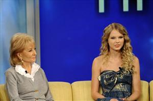 In this publicity image released by ABC, Taylor Swift, right, sits with host Barbara Walters during an appearance on The View Tuesday.