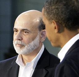 Ben Bernanke and Barack Obama during a news conference in Oak Bluffs, Mass., Tuesday, Aug. 25, 2009.