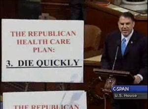 Alan Grayson displays a card outlining the GOP's supposed health plan: Don't get sick. But if you do, die quickly.
