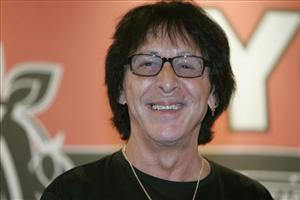 Peter Criss, a  founding member of  KISS, smiles during an autograph signing for the release of his solo album  One For All.