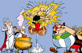 Asterix frances favorite comic gaul hits 50 asterix the gaul gets extra strength from a magic potion brewed by his druid pal getafix left pal obelix is at right asterix thecheapjerseys Images