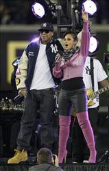 Jay-Z performs with Alicia Keys before Game 2 of the Major League Baseball World Series between the New York Yankees and Philadelphia Phillies Thursday, Oct. 29, 2009, in New York.