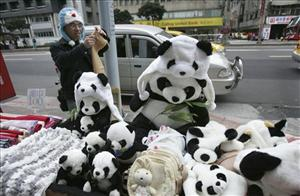 A vendor sells panda hats on the first day of the Chinese lunar New Year in Taipei, Taiwan, on Jan. 26, 2009, the day the Taipei Zoo officially opened its doors to the public to view its two pandas.