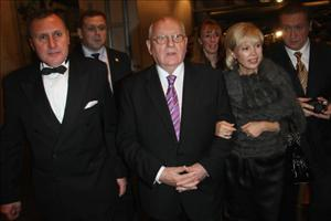 Vladimir Kotenev, Mikhail Gorbachev and his daughter Irina Virganskaya attend the MTV Europe Music Awards Free Your Mind Award presentation on November 8, 2009, in Berlin.