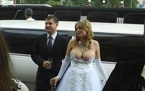 This bride, believed to be Russian, is blushing for more than the usual wedding-day reasons.