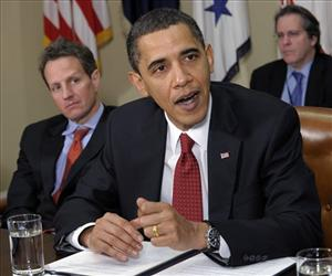 President Obama makes a statement in the Roosevelt Room of the White House Tuesday as Timothy Geithner looks on.